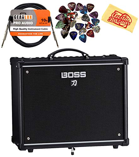 Boss Katana 50-Watt 12-Inch Guitar Combo Amplifier Bundle with Instrument Cable, 24 Picks, and Austin Bazaar Polishing Cloth