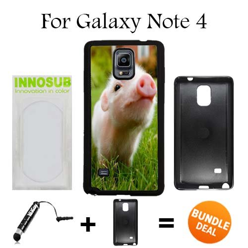 Cute Piglett Baby Pig Custom Galaxy Note 4 Cases-Black-Plastic,Bundle 2in1 Comes with Custom Case/Universal Stylus Pen by innosub (Pig 4 Baby Note Case)