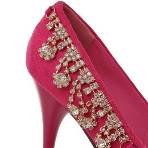 VogueZone009 Womans Closed Round Toe High Heel Spikes Stilettos Suede Frosted Solid Pumps with Rhinestone£¬ Red, 3.5 UK
