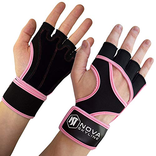 """Leather Gloves Padded Bag (Nova Skyline Gym, Weightlifting, Workout, Fitness & CrossFit Gloves - Padded Palm, Fingerless, Ultralight Weight, 16"""" Wrist Support Wrap - Men & Women - Large - Pink)"""