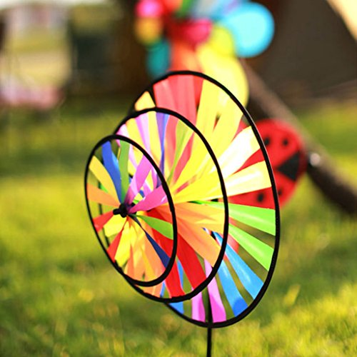 Triple Pinwheel (Upupo Colorful Pinwheel, Triple Flower Windmill Rainbow Design of Kids Toy, Party Garden Decoration)