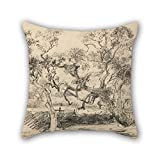 elegancebeauty oil painting Louis Buvelot - Toollern Creek, Melton throw pillow covers 16 x 16 inches / 40 by 40 cm for bar,kids girls,sofa,kids girls,divan,car seat with twin sides