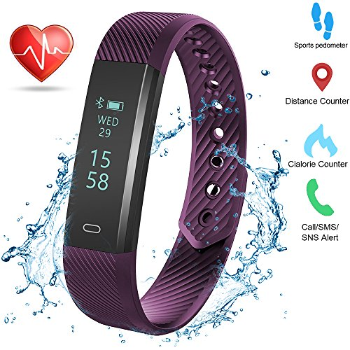 Weton Fitness Activity Tracker with Heart Rate Monitor Bluetooth 4.0 Waterproof Smart Bracelet Wristband Pedometer with Sleep Monitor Calorie Counter Step Tracker for Android and All Smartphones
