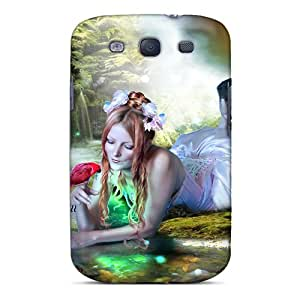 High Grade OrangeColor Flexible Tpu Case For Galaxy S3 - Woman With The Parrot