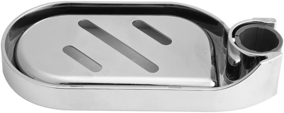 Outbit Jabonera Soporte para jabonera de ABS Barra de Ducha Ajustable Deslizador Gadget de ba/ño pr/áctico con Superficie cromada