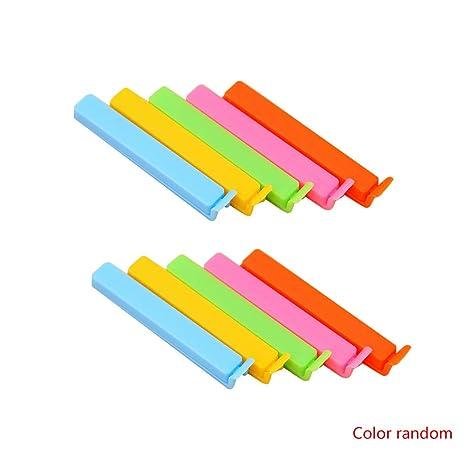Fangfeen 10PCS de Alimentos Bolsas de té de Sellado Abrazaderas para Cocina Clips de plástico de Colores (Color al Azar)