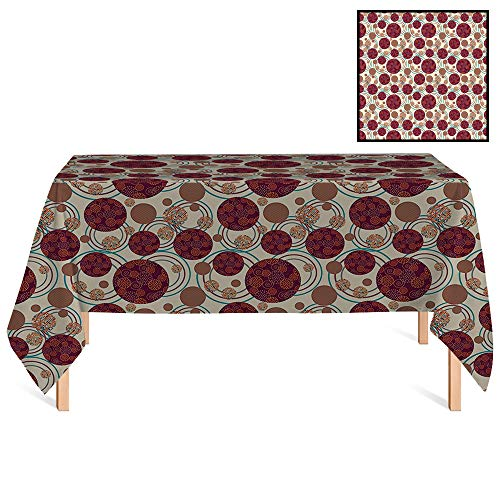 SATVSHOP Decorative Table Cloth /70x132 Rectangular,Geometric Circle Dynamic Ring Spherical Disco Balls Dot and Stripes Swirls Display Maroon Beige.for Wedding/Banquet/Restaurant. ()