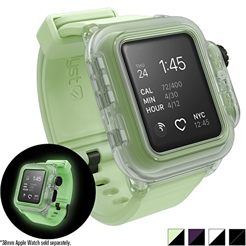buy online 3073c 12cd3 Waterproof Apple Watch Case 38mm Series 2 with Premium Soft Silicone Apple  Watch Band by Catalyst, Shock Proof Impact Protection, Glow in The Dark