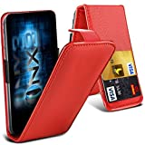 ONX3® (Red) ZTE Grand X2 Universal Luxury Style Folding PU Leather Spring Clamp Holder Top Flip Case with 2 Cards slot, Slide Up and Down Camera