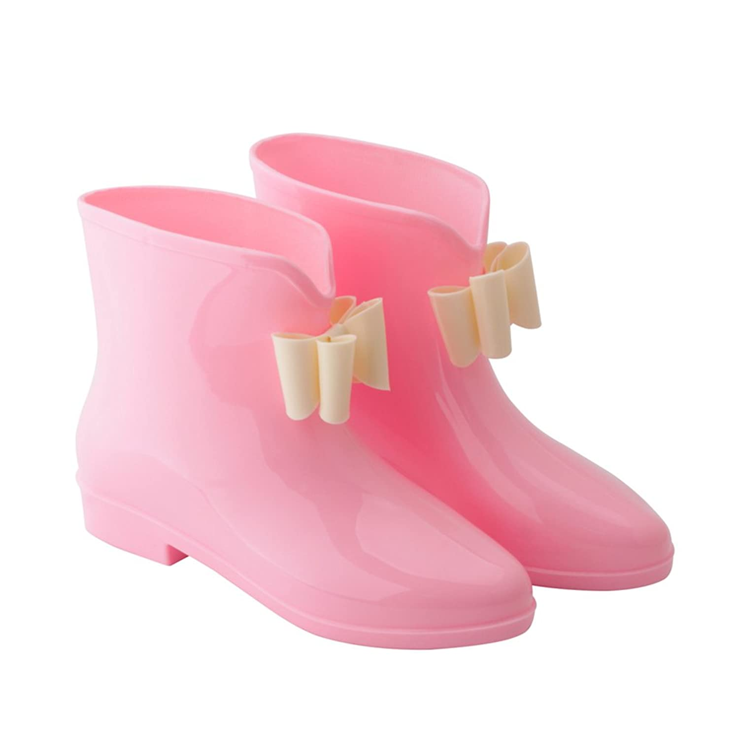 Retro Boots, Granny Boots, 70s Boots OMGard Womens Ankle Rain Boots Low Heel Jelly Bow Rainboots Waterproof Rubber for Garden $19.99 AT vintagedancer.com