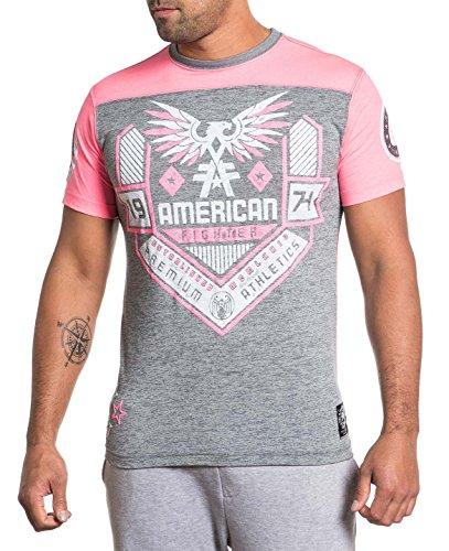 American Fighter Men's Agusta Weathered 50/50 Panel Football T- Shirt-Medium Pink