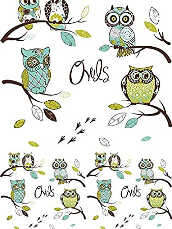 Fashion Owls - 369876 - Ceramic Decal - Enamel Decal - Glass Decal - Waterslide Decal - 3 Different Size Sheet (Images) to Choose from. Choose Either Ceramic (Enamel) or Glass Fusing Decals XpressionDecals