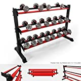 We R Sports 3 Tier Heavy Duty Gym Dumbbell Rack Stand Holder For Hex Rubber Dumbbells Holds 10 Pairs