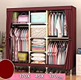 GL&G Closet Wardrobe Clothes Closet System Oxford cloth Clothes Rack Portable Storage Organizer with Shelves and Hanging Rod Home storage consolidation,B,67''67''