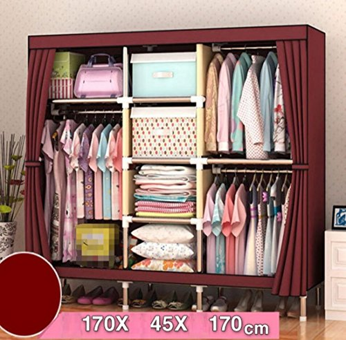 GL&G Closet Wardrobe Clothes Closet System Oxford cloth Clothes Rack Portable Storage Organizer with Shelves and Hanging Rod Home storage consolidation,B,67''67'' by GAOLIGUO