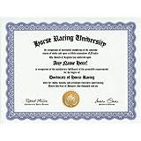 Horse Racing Degree: Custom Gag Diploma Doctorate Certificate (Funny Customized Joke Gift - Novelty Item)
