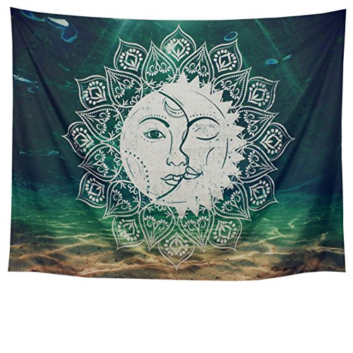 Racunbula Moon and Sun Tapestry Sacred Psychedelic Tapestry Green Mandala Tapestry Indian Celestial Energy Mystic Tapestry Bohemian Hippie Hippy Wall Tapestry Wall Hanging ()