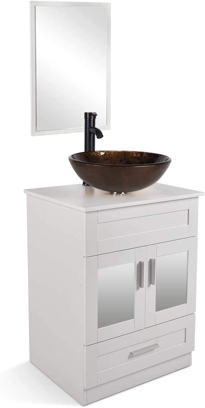 24 Bathroom Vanity and Sink Combo – Vanity Cabinet with and Tempered Glass Vessel Counter Top Sink Basin Eco PVC Board Faucet Pop-up Drain Set