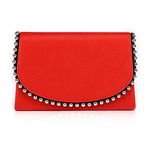 Pearl Bead Evening Clutch Vintage Wedding WALLYN'S Purse Womens Red Party Bag Evening Style Handbag Sdwxq5C6n