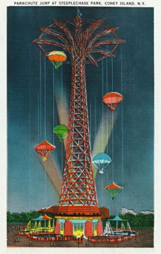 (Coney Island, New York - Steeplechase Park Parachute Jump View at Night (12x18 Art Print, Wall Decor Travel Poster))