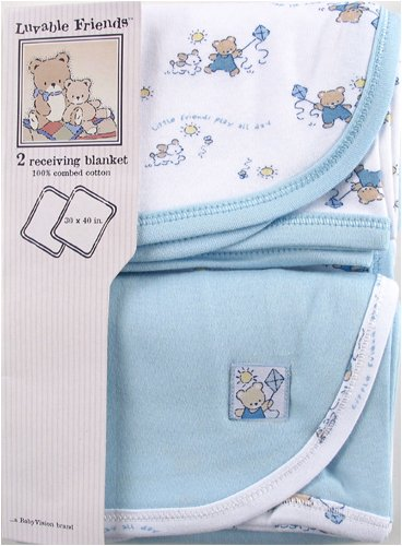 Luvable Friends 2 Pack Receiving Blankets, Blue (Discontinued by Manufacturer)