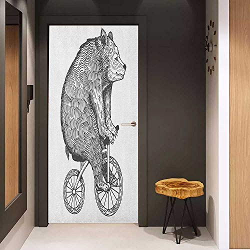 Onefzc Photo Wall Decal Bicycle Circus Bear on a Bicycle Sketchy Illustration Monochrome Funny Animal for Home Decor W23 x H70 Charcoal Grey and White