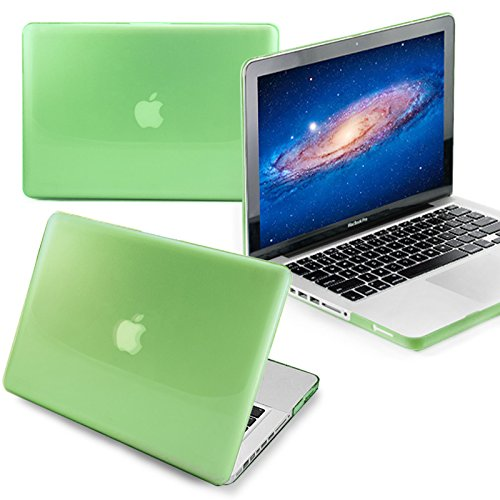 T-Power 13'' ( GREEN ) Crystal Finish See Thru Hard Shell Case Cover for Apple Macbook Pro 13'' A1278 Aluminum Unibody Glossy snap-on ### NOT for retina display ###