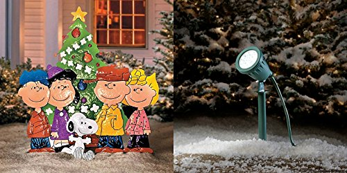 SNOOPY AND THE GANG AROUND CHRISTMAS TREE YARD DECOR - 33''W x 36''H - LED SPOTLIGHT INCLUDED by Yard Art