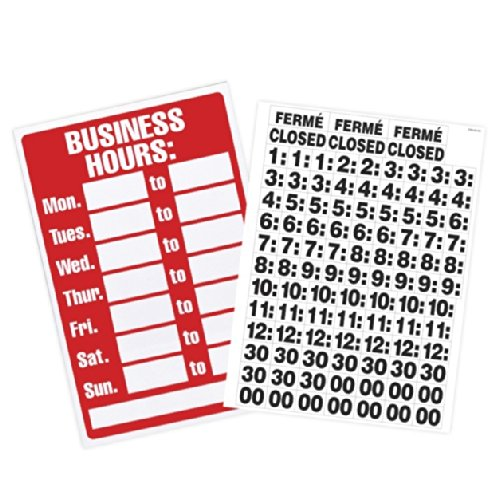 ss Hours Sign with Peel Vinyl Characters, 8 x 12 Inches, Poly Resin (9394 ) (Express Yourself Peel)