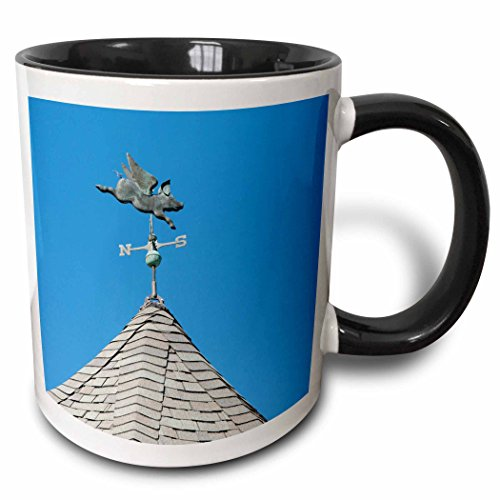 3dRose Danita Delimont - Cindy Hopkins - Objects - USA, Michigan, Mackinac Island. When Pigs Fly rooftop weathervane. - 15oz Two-Tone Black Mug (mug_190230_9)