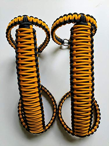 Happy Jeepinit Jeep Wrangler Roll Bar Grab Handles, Paracord, Set of 2, Pick Your Colors (JK Front Roll Bar, Dozer Yellow)