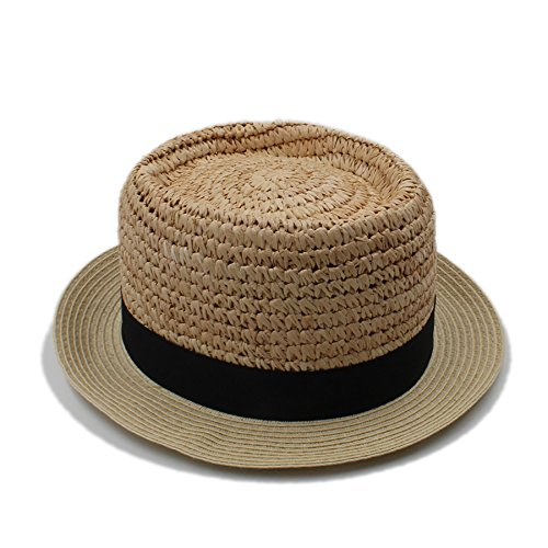 Top Raffia (MILUCE Handwork Summer Women Men Raffia Boater Beach Sun Hat For Elegant Lady Flat Top Fedora Cap Gentleman Dad Prok Pie Panama Hat ( Color : 1 , Size : 58cm ))