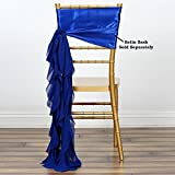 Efavormart Tableclothsfactory 5pcs Chiffon Royal Blue Curly Chair Sashes For Home Wedding Birthday Party Dance Banquet Event Decoration