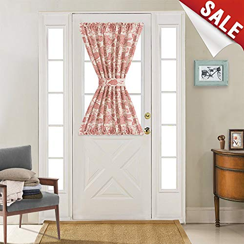 French Door Panel Curtains Paisley Scroll Printed Linen Textured French Door Curtains 40 inches Long French Door Panels, Tieback Included, 1 Panel, Poppy Red (Tie Panel Door Back)