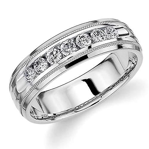 Men's Wedding Ring .50 CT Grooved Milgrain Diamond Ring for Men in 14K White Gold - Finger Size 9.75 (Vintage Mens Diamond Rings)