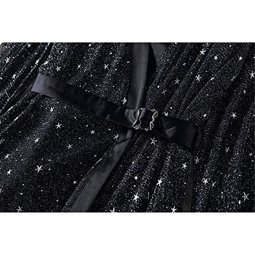 Señoras Star Negro Malla Y En Glitter Una Mujeres Ajuste Lla V Manga Profundo Cuello Ocasional Elegante Vestido Túnica Largo De Las Línea Corta Swing Ox4gw7E
