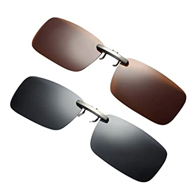e2915f6c738 P Prettyia 2pieces Polarized Sunglasses Clip On Driving Glasses Day Night  Vision Lens UV400  Amazon.co.uk  Clothing