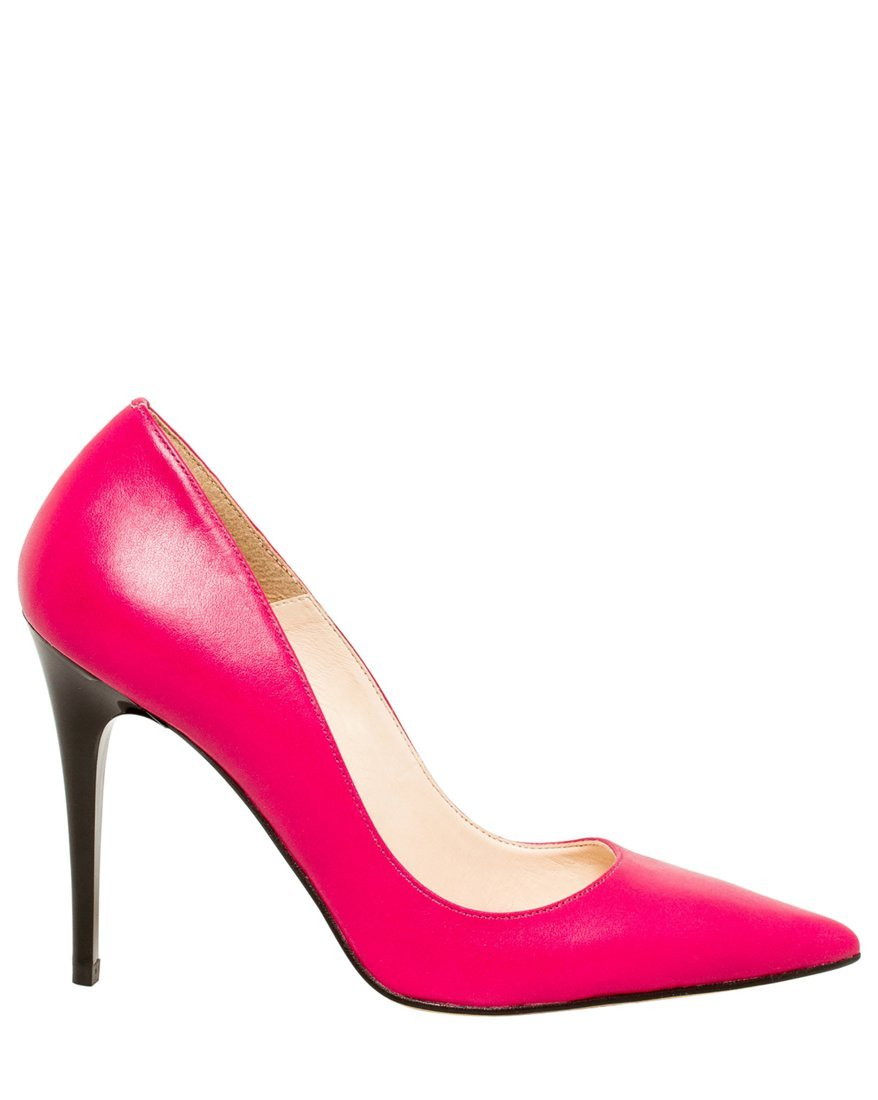 LE CHÂTEAU Women's Leather Pointed Toe Pump,8,Fuchsia by LE CHÂTEAU