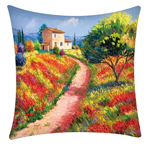 Nivalkid Pillow Case Polyester Fiber Cushion Sofa Car Cushion Cover Home Decoration Personalized Pillowcase Polyester pillowcase Idyllic Flower Sea Mountain Village Style 4545cm