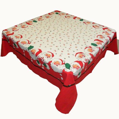 (Santa Claus Calls Cotton Christmas Tablecloth, 52 Inch Square)