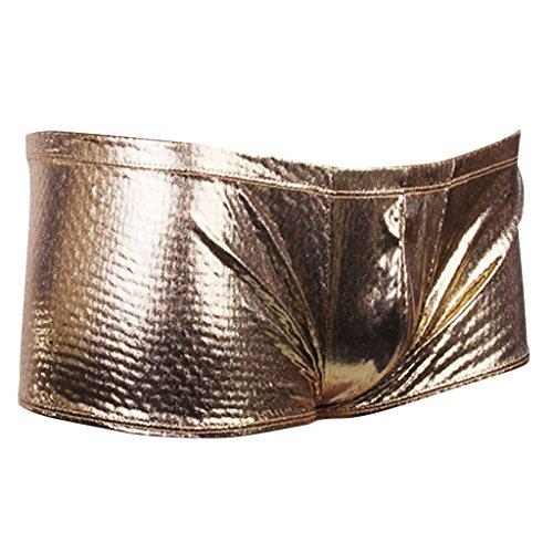 9040826f68b0a0 Mens Shiny Low Rise Boxer Briefs Stretch Underwear Thong - Metallic Silver/ Gold - Metallic Golden, 7mm