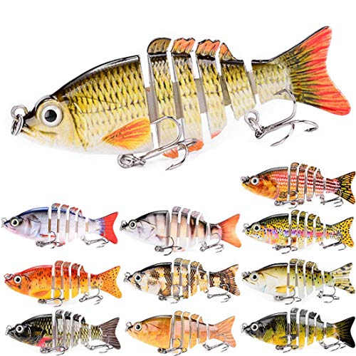 ZWMING Swimbaits,Lifelike Multi Jointed Fishing Lures Segment Swimbait,3D Eyes,Freshwater Saltwater Fishing Baits for Bass Pike Perch (11pcs-6 Segments)