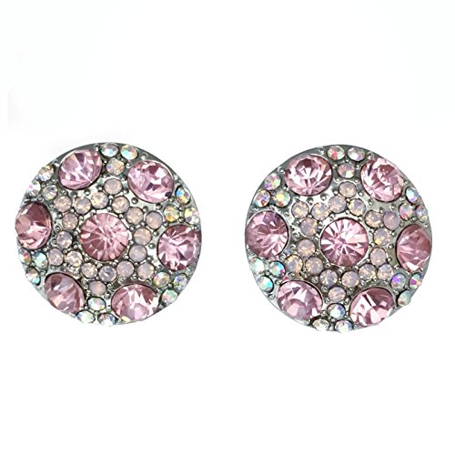 Light Pink AB Rhinestone Round Silver Tone Clip on Formal Fancy Earrings