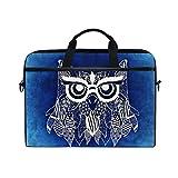 Laptop Bag for Men Women Canvas Shoulder Messenger Bag with Boho Owl Blue Background Fits 15-15.4 Inch