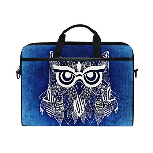 15.4in Messenger - Laptop Bag for Men Women Canvas Shoulder Messenger Bag with Boho Owl Blue Background Fits 15-15.4 Inch