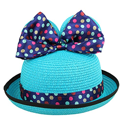 LOCOMO Girl Cute Colorful Mouse Ear Ribbon Bow Wide Brim Straw Hat FBH009BLU (Cheap Minnie Mouse Ears)
