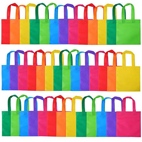Elcoho 40 Pieces Non-Woven Party Bags Gift Bags Treat Bag Rainbow Colors Goodie Tote Bags Bag with Handles for Party Favor, 8 by 8 Inches