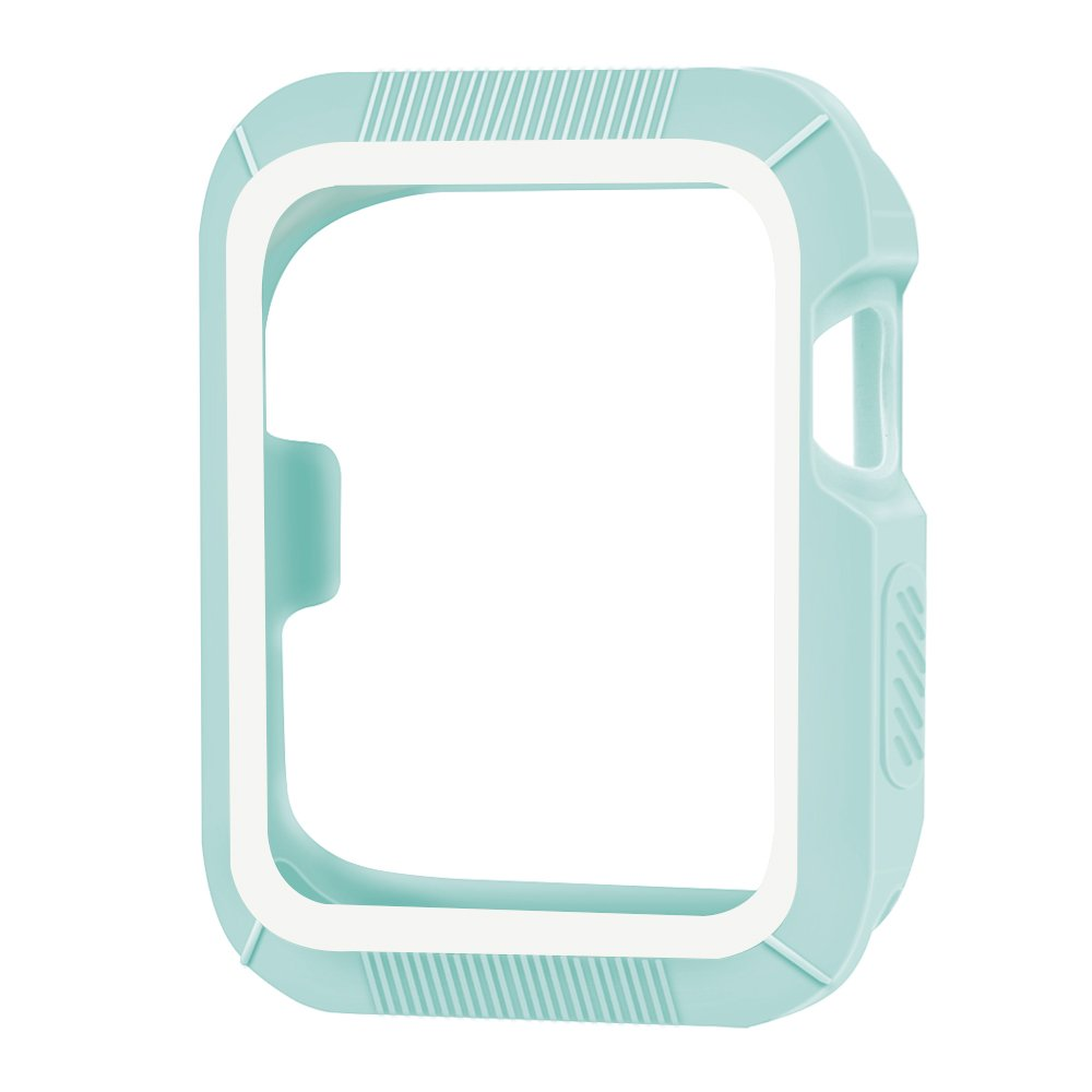OULUOQI for Apple Watch Case 42mm, Shock-proof and Shatter-resistant Apple Watch Protector iWatch Cover for Apple Watch Nike+, Series 2, Series 1, Sport, Edition- Lake Green / White