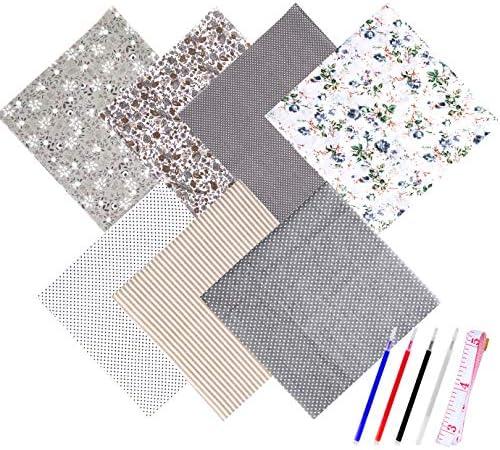 WXJ13 7 Pieces 50 x 50 cm Gray Series Cotton Craft Fabric Bundle Patchwork Squares Quilting Sewing Patchwork Different Pattern Cloths DIY Scrapbooking Artcraft