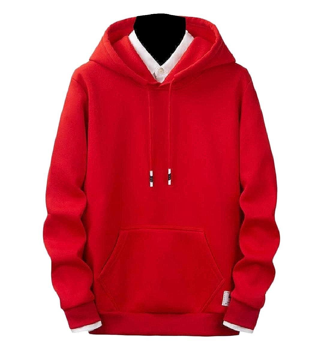 RDHOPE-Men Hoodie Drawstring Long-Sleeve Loose Fit Pullover Sweatshirt